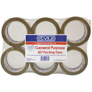 Stylus General Purpose Packing Tape Brown 6 Pack