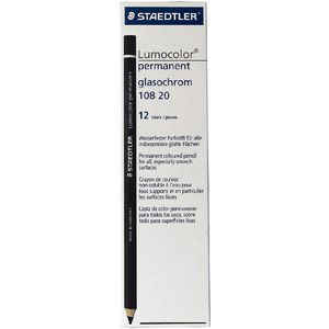 Staedtler Lumocolour Glasochrom Pencil Black 12 Pack