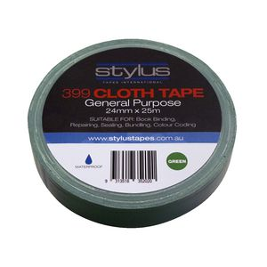 Stylus General Purpose Cloth Tape 24mm x 25m Green