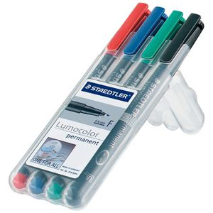 Staedtler Lumocolor 318 Permanent Markers Assorted 4 Pack