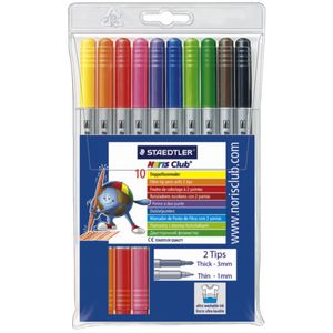 Staedtler Noris Club Fibre Twin Tip Pens 10 Pack