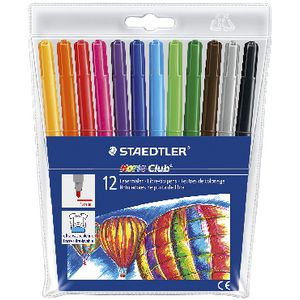 Staedtler Noris Club Coloured Fibre Tip Markers 12 Pack