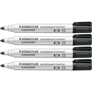 Staedtler Lumocolor Whiteboard Markers Black 4 Pack