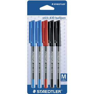 Staedtler Stick 430 Medium Ballpoint Pens Assorted 5 Pack