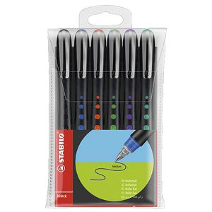 Stabilo Black Rollerball Pens Assorted 6 Pack