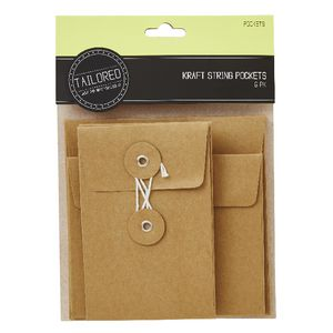 Tailored Kraft Mini String Pockets 6 Pack