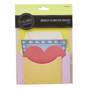 Tailored Adhesive Decorative Pockets Assorted 6 Pack