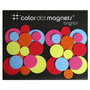 Three By Three Colour Dot Magnets Brights 30 Pack