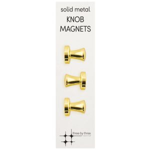 Three By Three Knob Magnets Gold 3 Pack
