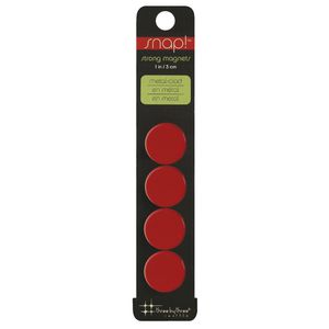 Three By Three Snap! Strong Small Magnets Red 4 Pack