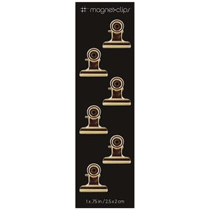 Three By Three Magnetic Clips Small Gold 6 Pack