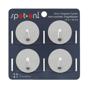 Three By Three Mini Magnet Hooks White 4 Pack
