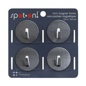 Three By Three Mini Magnet Hooks Stainless Steel 4 Pack
