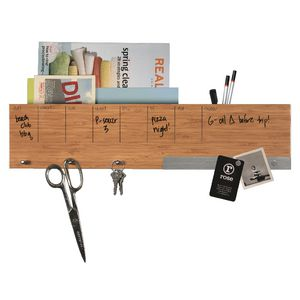 Three by Three Dry-Erase Weekly Planner with Storage Bamboo