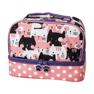 Studymate 2 Compartment Tote Lunch Bag Cute Cats