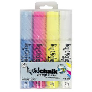 Texta Liquid Chalk Markers Chisel Tip Assorted 4 Pack