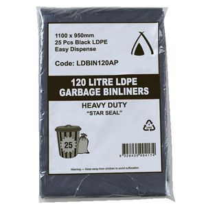 Tailored Packaging All Purpose Bin Liners 120L Black 25 Pack