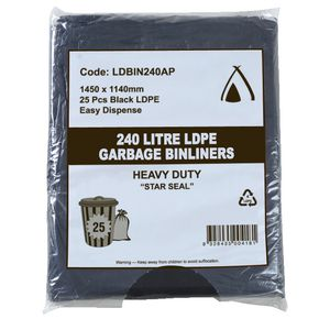 Tailored Packaging All Purpose Bin Liners 240L 100 Pack Black