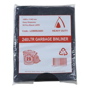Tailored Packaging Heavy Duty Bin Liners 240L 25 Pack Black