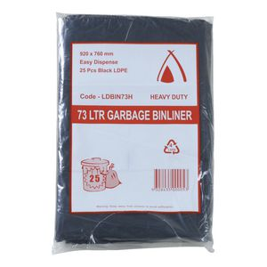 Tailored Packaging Heavy Duty Bin Liners 73L 25 Pack Black