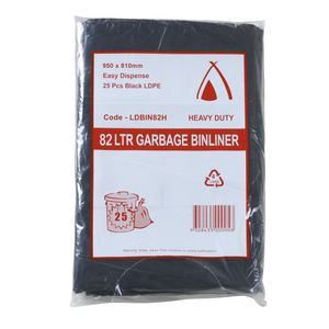 Tailored Packaging Heavy Duty Bin Liners 82L 25 Pack Black