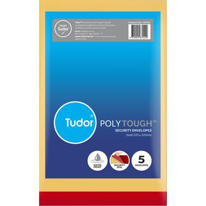 Tudor PolyTough Tamper Evident Envelopes Gold 220x320 5 Pack