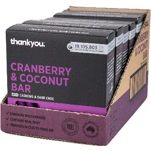 Thankyou Muesli Bar Cranberry and Coconut 6 x 6 Pack