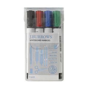 J.Burrows Whiteboard Markers Bullet Assorted 4 Pack