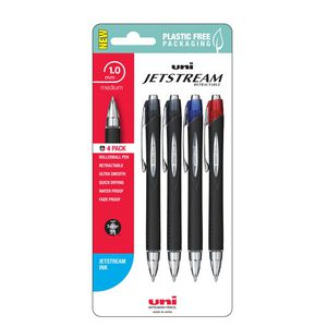 Uni Jetstream Retractable Rollerball Pen Assorted 4 Pack