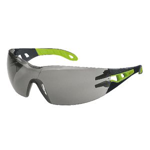 Uvex Pheos Smoke Lens Safety Glasses Black/Green
