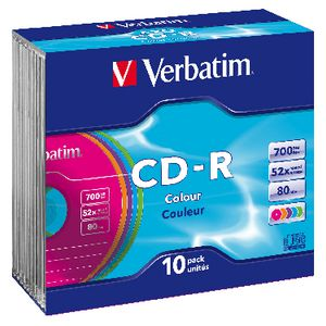 Verbatim CD-R 700MB 52x High Speed Slim Coloured Case 10 Pack