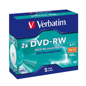 Verbatim DVD-RW 4.7GB 2x Jewel Case 5 Pack