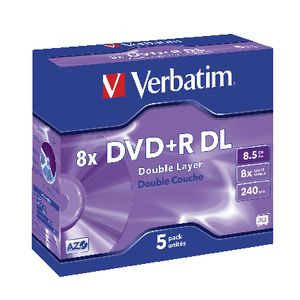 Verbatim DVD+R DL 8.5GB 8x Jewel Case 5 Pack