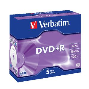 Verbatim DVD+R 4.7GB 16x Jewel Case 5 Pack