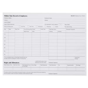 Wildon Time Record of Employees Book