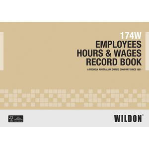 Wildon 174W Employee Hours and Wages Book
