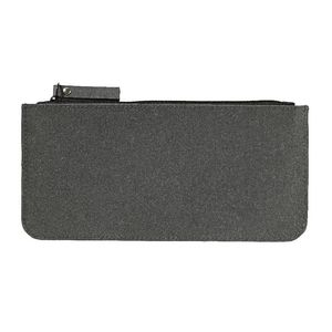 X Recycled Leather Flat Pencil Case Black