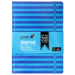 Yoobi A5 Hard Cover Journal Stripe Blue 72 Page