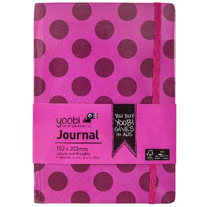 Yoobi A5 Hard Cover Journal Dot Pink 72 Page
