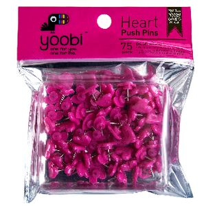 Yoobi Heart Push Pins Pink 75 Pack