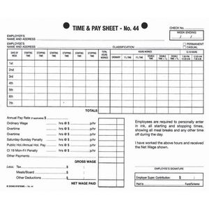 Zions No. 44 Time and Pay Sheets 100 Pack