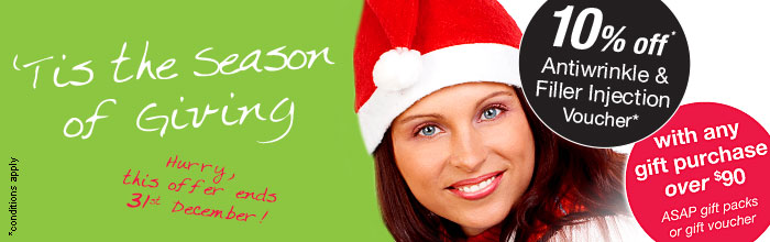 10% of Antiwrinkle and Filler injection voucher with any gift purchase over $90 (ASAP gift packs or gift voucher)