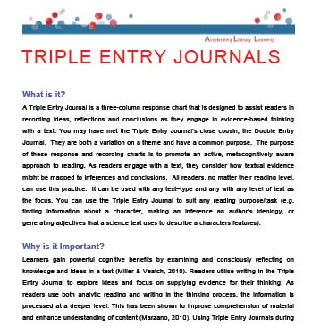 triple entry journal for points of