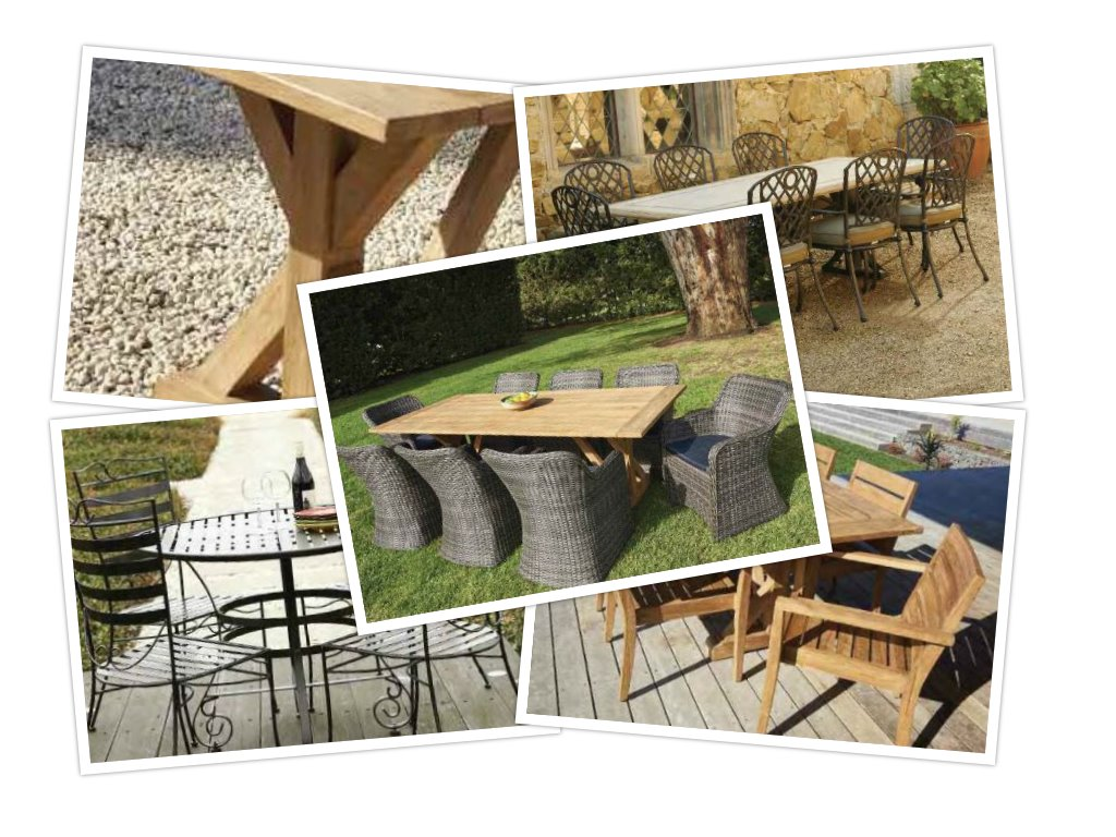 At our high quality outdoor furniture range including wicker chairs stone top tables and recycled teak tables and chairs which setting can you picture