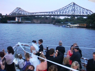 Brisbane River wedding on Lady Brisbane Boat with Story Bridge background