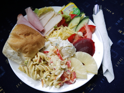 Freshly prepared cold buffet lunch
