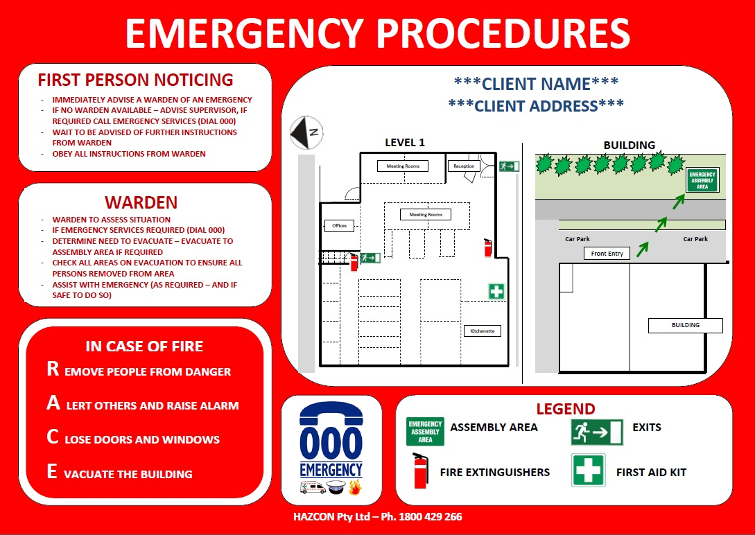 Emergency evacuation diagrams for Fire evacuation procedure template free