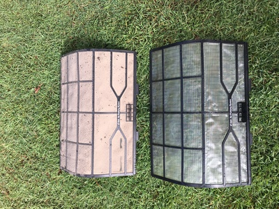 Dirty and clean air conditioning filters