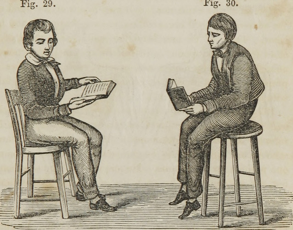 An illustration of students reading a treatise on anatomy, physiology, and hygiene from 1849.