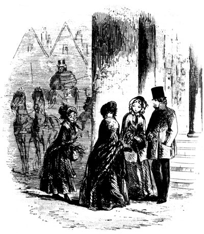 An illustration from Charles Dickens' book 'Bleak House', featuring three women and a man in 18th century style clothing, standing on a street. The illustration is in black and white.